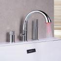 LED Bathtub Faucet Deck Mounted Tub Filler Tap Chrome/Black