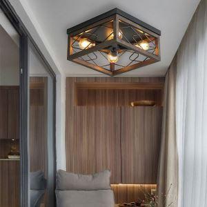 Vintage Style Iron Wood Flush Mount Ceiling Light 4-Lamp mys017