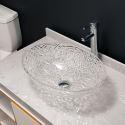 Oval Transparent Glass Wash Basin Bathroom Washroom Decorative Countertop Sink