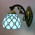 Bronze Armed Blue Stained Glass One-light Wall Sconce