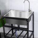 Stainless Steel Kitchen Sink Freestanding Portable Single Bowl Sink 6844