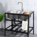 Stainless Steel Kitchen Sink Freestanding Portable Double Bowl Sink 7843
