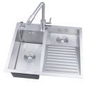 Stainless Steel Sink Double Bowl Laundry Sink with Washboard 6048