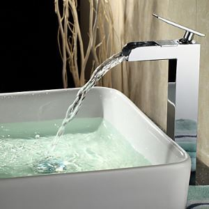 Contemporary Waterfall Chrome Finish Bathroom Sink Faucet (Tall)