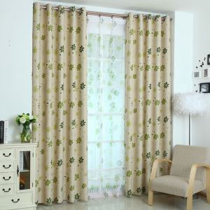 Polyester Curtain Semi Blackout Fresh Plant Printed Window Treatment (One Panel)