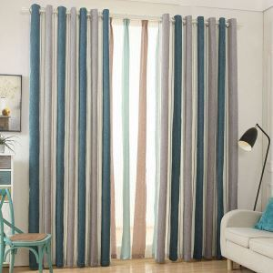 Stripes Curtain Nordic Style Solid Color Chenille Curtain (One Panel)