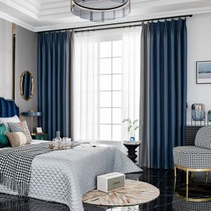 Polyester Curtain Nordic Style Splicing Solid Color Window Treatment (One Panel)