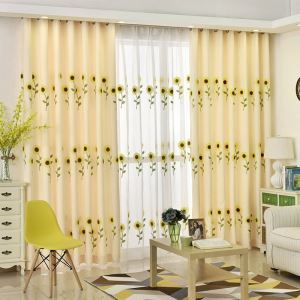 Modern Curtain Sunflower Pattern Curtain (One Panel)