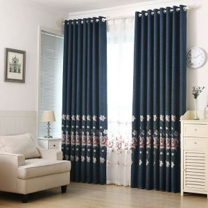 Blackout Curtain Polyester Minimalist Embroidery Curtain (One Panel)