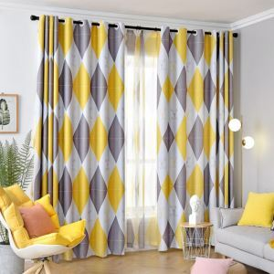 Blackout Curtain Polyester Rhombic Geometric Pattern (One Panel)