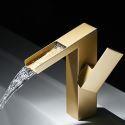 Brass Basin Mixer Tap Gold Waterfall Bathroom Tap