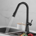 Pull-Out Kitchen Faucet Black Brass Rotatable Spout Tap