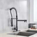 Black Kitchen Faucet Stainless Steel Spring Dual Spout Tap