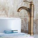 Antique Brass Bathroom Vessel Sink Faucet (Tall)