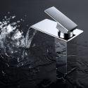 Contemporary Waterfall Bathroom Sink Faucet Chrome Brass Basin Mixer Tap