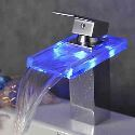 Deck Mount Bathroom Sink Faucet Color Changing LED Waterfall Mixer Tap(Chrome Finish)