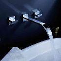 Wall Mount Bathroom Sink Vanity Faucet Solid Brass Tap (Widespread)