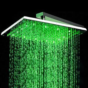 LED Shower Head 16 inch Stainless Steel with Color Changing LED Light