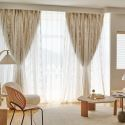 Home Curtain Modern Floral Embroidery Lace Curtain (One Panel)