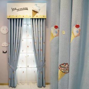 Modern Curtain Lovely Ice Cream Embroidery Curtain (One Panel)