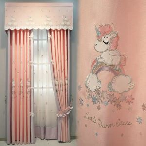 Modern Curtain Lovely Unicorn Embroidery Curtain (One Panel)