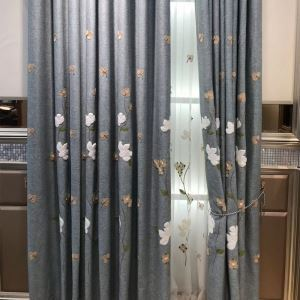 Home Curtain Minimalist Floral Embroidery Window Curtain (One Panel)