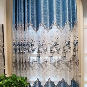 Home Curtain Nordic Style Embroidery Window Curtain (One Panel)