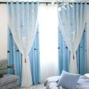 Modern Curtain Lamps Print Curtain with Sheer (One Panel)
