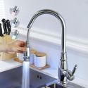 Brass Pull-Out Kitchen Faucet LED Mixer Tap