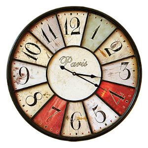 23'Paris Wooden Wall Clock with Metal Decoration