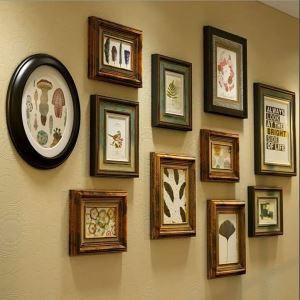 American Retro Photo Wall Decoration Photo Frame with Color Painted Solid Wood Combination Photo Frame