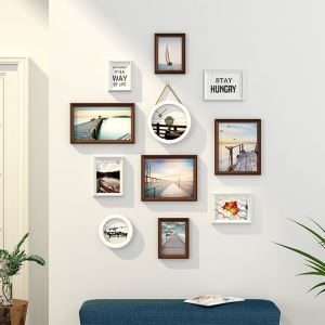 Modern Minimalist Photo Wall Decoration Photo Frame with Color Painted Solid Wood Combination Photo Frame