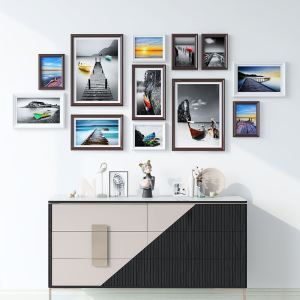 Modern Picture Frame 12pcs Set Solid Wood Staircase Photo Frame Set