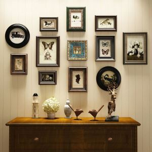 Antique Picture Frame 12pcs Set Solid Wood Staircase Photo Frame Set