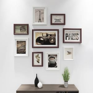 Modern Picture Frame 9pcs Set Solid Wood Staircase Photo Frame Set