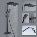 Exposed Thermostatic Shower System Rainfall Stainless Steel Mixer Shower Set Black / Chrome