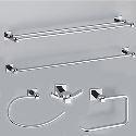 Modern Chrome Solid Brass 5-piece Bathroom Hardware Accessories Set(0605-0401+0407+0405+0411+0410)