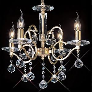 Golden Crystal Chandelier with 4 Lights in Candle Bulb
