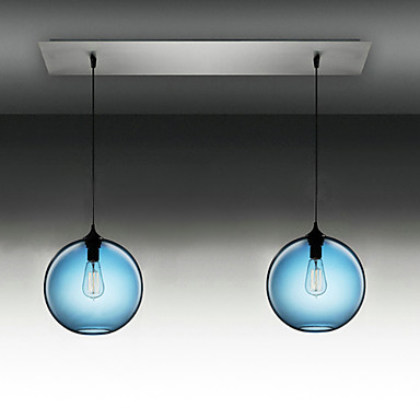 2 Light Modern Glass Pendant Lights In Round Blue Bubble