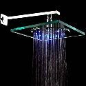 LED Color Changing Glass Shower Head 8 inch