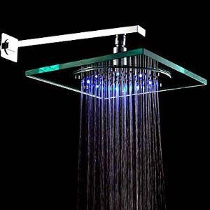 LED Glass Shower Head 8 inch