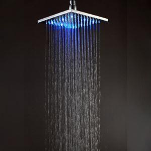 20x21cm LED Square Chrome Brass Showerhead