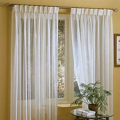 Linen Sheer Curtain Custom Solid White Window Treatment