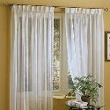 Linen White Sheer Curtain Custom Solid White Voile Window Treatment ( One Panel )