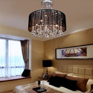 Black Shade 5-light Satin Nickel and Clear Crystal Ceiling Lamp Black Chandelier