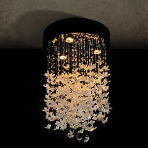 Modern Semi Flush Mount with 3 Lights - Butterfly Featured Shade