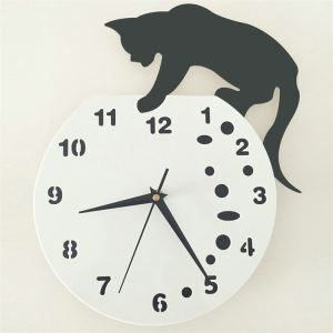 (In Stock) Naughty Cat Acrylic Wall Clock with DIY Dial and Hands Feature