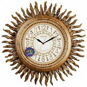 "19""Antique Inspired Sunburst Polyresin Wall Clock"
