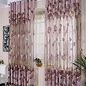 Purple Sheer Curtain Leaf Jacquard Custom Window Treatment ( One Panel )