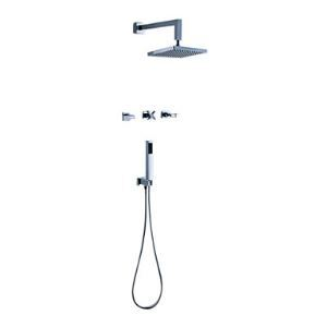 Contemporary Two Handles Shower Faucet with 8 inch Shower Head and Hand Shower